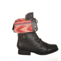 New! Aztec Military/combat Boots Lace up + Zipper: Shoes