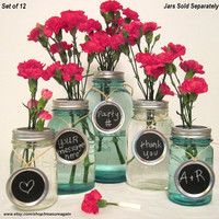 Party Chalkboard Signs 12 Jar Tags for Wedding, Party, Centerpiece, Entertaining, Mason Jar Chalkboard Labels Only - No Jars