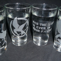 Hunger Games Glasses by geekyglassware