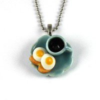 Fried Eggs on Toast and black Coffee Necklace from katrinakaye | Made By Katrina Kaye | £11.50 | Bouf