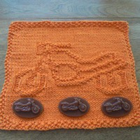 Outrageous Orange Cotton Hand Knit Motorcycle Dishcloth or Washcloth