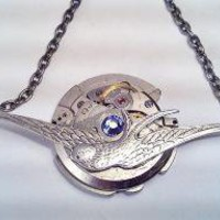 Flying Bird Watch Movement Necklace with Swarovski by SteamDesigns