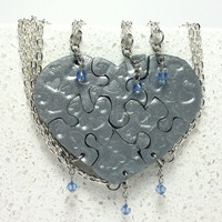 Heart Shaped Puzzle Necklaces Set of 6 Interlocking Necklaces Polymer Clay Silver Hearts with Crystals Set 184