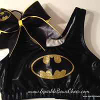 Batty  Metallic Sports Bra and Bow Set Cheerleading