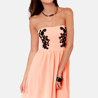 Splendid Soiree Strapless Bright Peach Dress