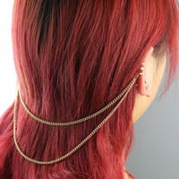 1Pc Gothic Punk Silvery/Golden Ear Cuff Clip Stud Wrap Hair Long Chain Earrings NO PIERCING, Simple fashion chic