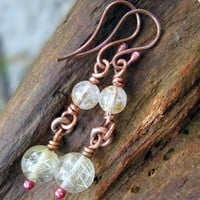 Gold Rutilated Quartz Earrings, Copper Fittings, Layered Drops