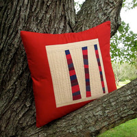 Modern Red Pillow Red Quilted Pillow Cover Fiber by TwiggyandOpal