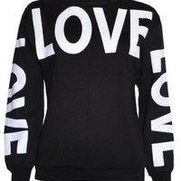 Womans Big Love Logo Sweater Sweatshirt Top: Clothing