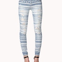 Destroyed Tribal Print Skinny Jeans