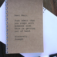Journal / Notebook Dear Mary Sincerely Joesph by anroldesigns