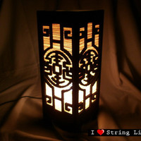 Bamboo Blind Chinese Style MDF Wooden Table Lantern for home decorate (Converter plug included)