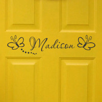 Girls Bedroom Door Monogram with butterflies by HouseHoldWords