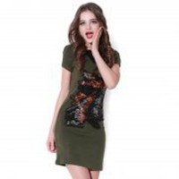 Bqueen False V Collar Short Sleeve Dress Q12133G - Designer Shoes|Bqueenshoes.com