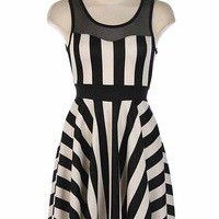 Vixen Boutique — Mesh Yoke Stripe Print Dress