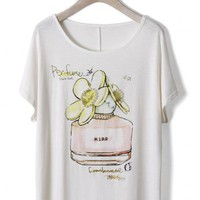 Perfume Print T-shirt with Pearl Decor in White