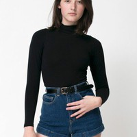 American Apparel - Dark Wash High-Waist Jean Cuff Short