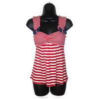 Upcycled Nautical Red and White Striped Rockabilly Pin Up Tank Top Womens Clothing Medium
