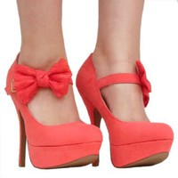 Women`s Qupid Coral Mary Jane Bow High Heel Stiletto Pump (Onyx74): Shoes