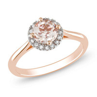 6.0mm Pink Morganite and Diamond Accent Frame Ring in 10K Rose Gold - View All Rings - Zales