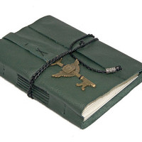 Green Leather Journal with Winged Clock Key Bookmark