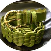 SALE dark green leather handmade linked belt