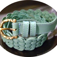 SALE Turquoise blue leather handmade linked belt