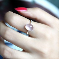 Handmade Rose Quartz Silver Ring