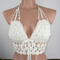 elegant sexy.Flower pattern white crochet becked underwear