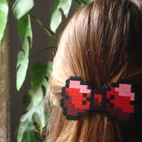 8bit Bow Barrette. Black & Red, Pink, Burgundy or Multicolor. Choose your Style.