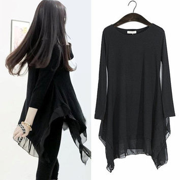 Irregular Loose Long-sleeve Chiffon Top