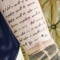 ALICE IN WONDERLAND COSTUME - TEMPORARY TATTOO - WRITING