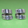 Newsprint Font Version - to infinity and beyond - Hand Stamped Twist Rings, Aluminum Couples Ring Set, Shiny,  Skinny