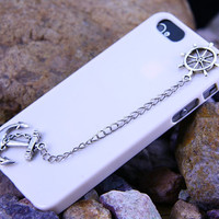 Iphone 5  case  cover, Navy Silver Anchor &amp; Helm Chain Case Iphone 5,This Case Fit for :iphone case 4/4S iphone 5  Th