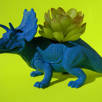 Dinosaur Planter True Blue Neon Succulent Planter Triceratop Great Office Decor