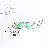Mint Birds Earrings - post stud earrings Bird Jewelry