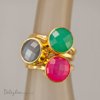Statement Ring - Stacking Rings - Stackable Rings - Gemstone Ring-  Bezel Rings - Gold Rings -  Vermeil Ring - Gift for Mom