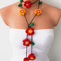 Red and Yellow Hand Crochet Lariat Scarf Necklace by fairstore