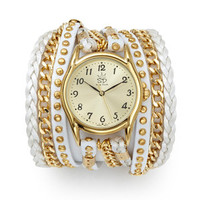 ideeli | SARA DESIGNS Studded Leather and Chain Wrap Watch