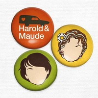 Harold and Maude - Original Illustrations of Classic Cult Movie - Set of 3 Magnets - Whimsical &amp; Unique Gift Ideas for the Coolest Gift Givers