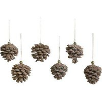 Set of 6 Mini Beaded Gold Pinecone Ornaments | Crate&Barrel