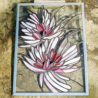 Stained Glass Window Panel Dahlia Flower Stained by GaleazGlass