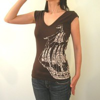 Nautical tall ship Sailing Pirate v neck by Ahpeele on Etsy