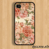 IPHONE 5 CASE Rose Flower Grunge VINTAGE  iPhone case iPhone 4 case iPhone 4s case Hard Plastic Case Rubber Case