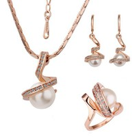18k Gold Plated Swarovski Elements Crystal CZ Rhinestone jewelry Sets White Pearls Necklace, Ring,...
