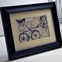 Vintage French Bicycle Bird Print by Vintage by VintageDandelions