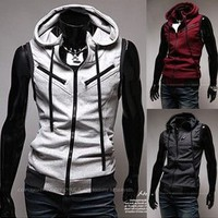 Men Fashion Casual Hooded Slim Vest Sleeveless Waistcoat 3 Colors New MVEST018