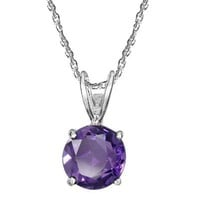 Sterling Silver 8mm Round Amethyst Pendant Necklace with Light Rope Chain Necklace, 18""