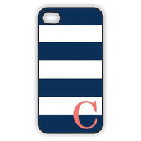 Monogram iPhone 5 Case - Navy Blue Stripes with Coral Initial  -  Monogram iPhone Case, iPhone 5 Case IPHONE 5 (iM4050)
