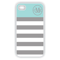 Monogrammed iPhone 5 Case - Tiffany Blue Accent with Gray Stripes Monogram on Grey Chevron  iPhone 5 Case, Hard iPhone 5 Case IPHONE 5